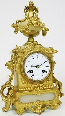 Antique French Gilt Metal & Alabaster Mantel Clock 8 Day Striking Mantle Clock