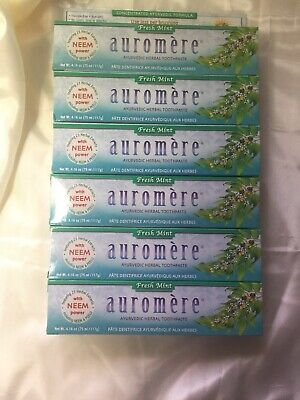 Lot Of 6 Auromere Herbal Toothpaste 4.16 0z Exp 6/2021 Ayurvedic