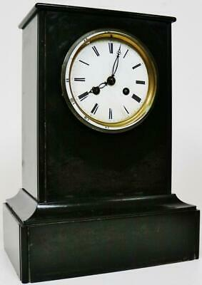 Antique French Slate Mantel Clock 8 Day Classic Design Marble Mantle Clock C1890
