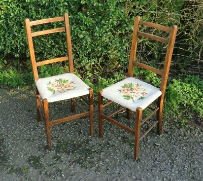 Antique pair of Edwardian needlepoint oak chairs bedroom side hall chairs
