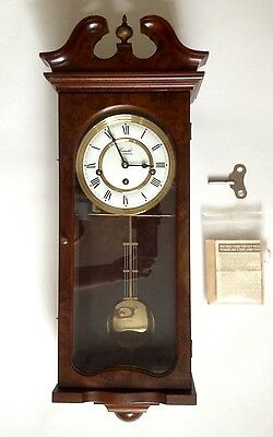 COMITTI of LONDON HERITAGE VINTAGE WALL CLOCK Mahogany Pendulum Antique + EXTRAS