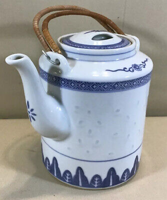Vintage Hand Painted Chinese Blue White Textured Ceramic Teapot W Woven Handles