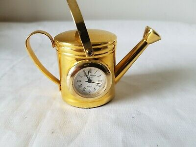 W M William Widdop Quartz Collector Gold Metal WATERING CAN Clock