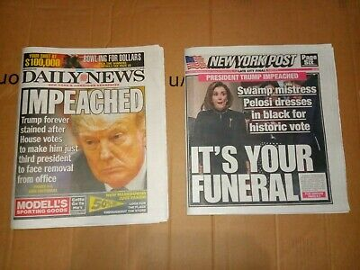December 19 2019 trump impeached daily news and new York post news paper