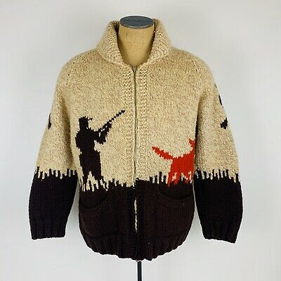 Vintage Wool Hunting Graphic Brown Shawl Neck Knit Sweater Cardigan Mens L Large