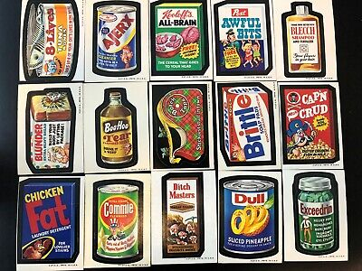 Wacky Packages Complete Series 2 White & Tan Back Sticker Set -Mostly White back