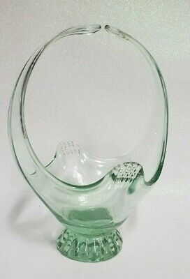 Art Glass Basket with Green Tint
