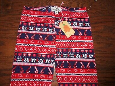 Nwt Poof Holiday Print Polyester Stretch Fleece Lined Leggings: Size M