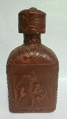 70s Leather Covered Whisky Decanter With Embossed Spanish Matador