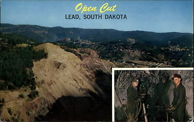 Homestake Gold Mine and Open Cut Lead South Dakota~ miners mining~ 1969 postcard