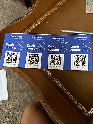 Southwest Airlines Drink Coupons, Exp Feb 28, 2021