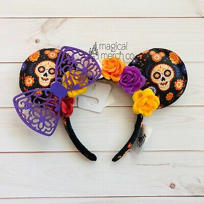Disney Parks Halloween Coco Dia De Los Muertos Minnie Mouse Ears Headband