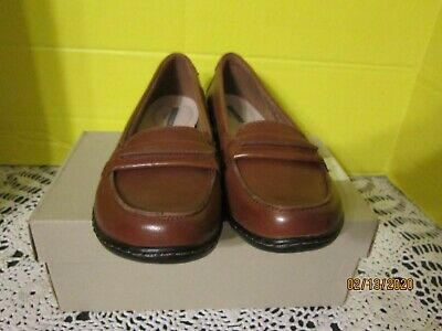 CLARKS ASHLAND ICE Loafers Shoes Black Slip On Tan Stitching