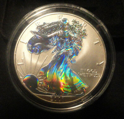 2001 AMERICAN EAGLE .999 1 Troy oz SILVER DOLLAR Double Sided Hologram Proof