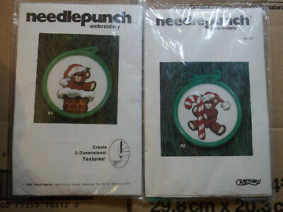 Craftways Needlepunch Ornament Kits X1 Teddy in Chimney / X2 Candy Cane Teddy
