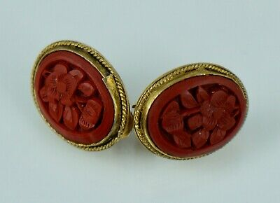 Antique Chinese Export Sterling Red Cinnabar Vintage Filigree Earrings Art Deco