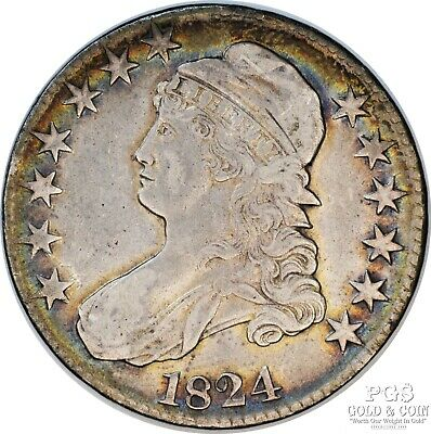 1824 Capped BustHalf Dollar 50c Overton 108 R-2 Rainbow TONED Silver Coin 14979