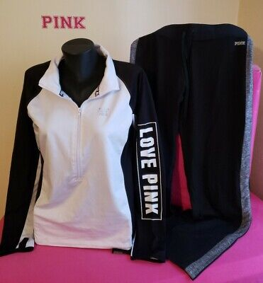LARGE Victoria Secret PINK ULTIMATE SET DEEP ZIP PULLOVER THUMBHOLE TRACK PANTS