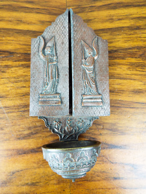 Antique Bronze Holy Water Font Nativity Triptych Wall Mounted Religious Art 1900