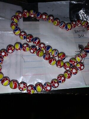 Mixed Vintage Christmas Beads  Ghana African Multicolor Glass Neckless