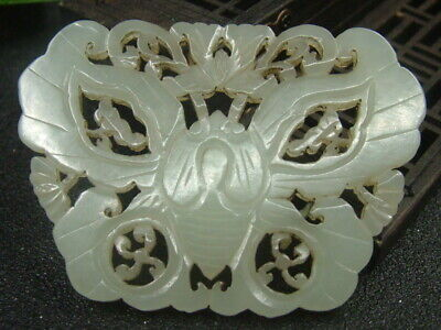 Chinese Antique Celadon Nephrite Hetian-Jade Butterfly Statues/Pendant 530