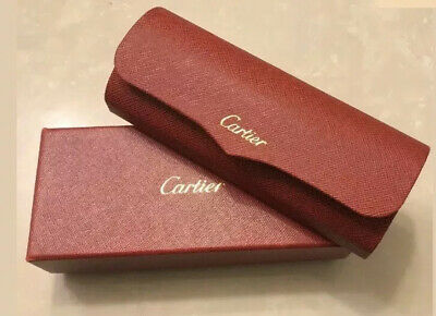 Original Cartier Eyeglasses Red Hard Case In Red Box, Black Dust Cloth & Pouch.