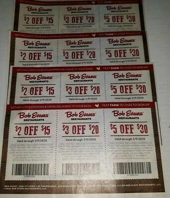 Bob Evans Coupons expire Feb. 09, 2020   (F1B1)