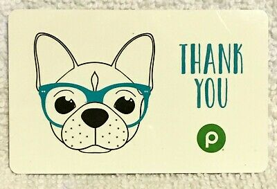 Publix Supermarket French Bulldog Blue Glasses Thank You 2019 Gift Card