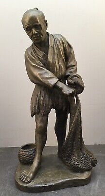 8Japanese Meiji Bronze Okimono - Fishing Man