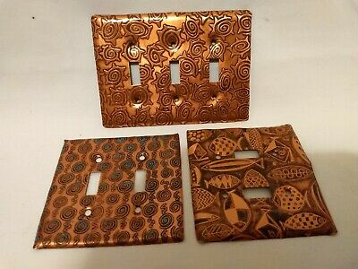 Vintage Copper Light Switch Covers Lot Of 3 Fish & other desings