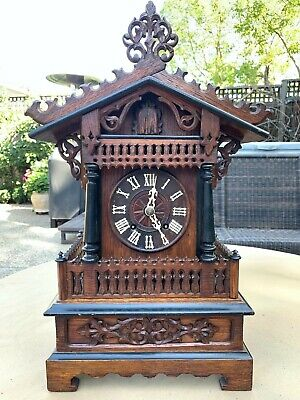 Antique Victorian Style Black Forest Cuckoo Clock Mantel Bracket A. Fleig 1890