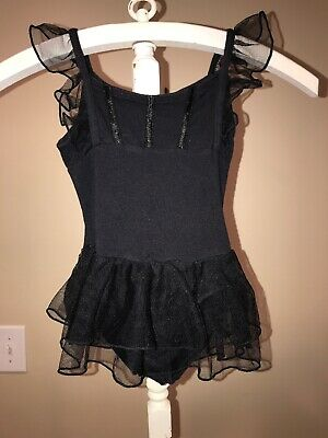 Danskin Freestyle Girls Black Leotard size XS 4 5  Tiered Ruffle Skirt