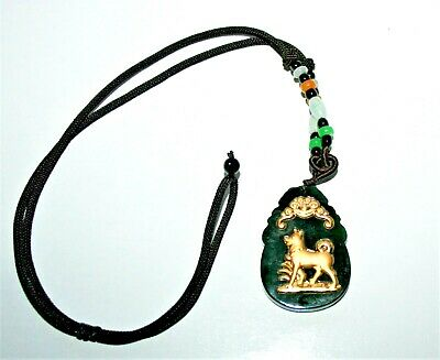 Dark Green Jade & 24K Gold Year of the Dog Chinese Zodiac Pendant Cord Necklace