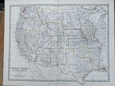 1880 Western United States Hand Coloured Original Antique Map By Johnston