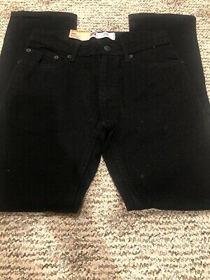 NWT Levis Boys 511 Black Slim Fit Stretch Adjustable Waist Jeans Size 12 26 x 26