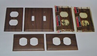 6 New Sierra Dark Wood Grain Bakelite Toggle Switch Outlet Wall Plate Cover