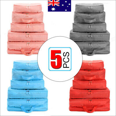 5Pcs Packing Cubes Travel Luggage Organiser Clothes Suitcase Storage-Bag THZF