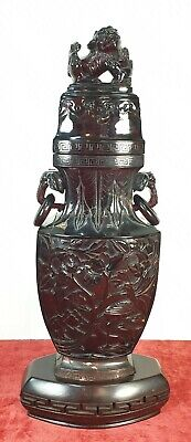 Vase Of Red Amber Carved By Hand. Wood Base. China. Xix-Xx Century.