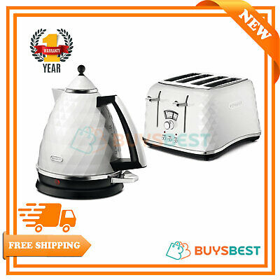 Delonghi Brillante Kettle & 4-Slice Toaster Set - White KBJ3001W + CTJ4003W