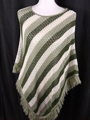 Faded Glory Knitted Pull Over Green & White One Size Missy Shawl Sweater J3