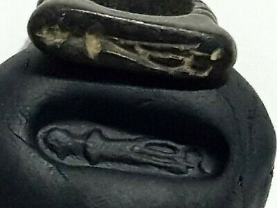 Museum Quality Intact Rare Ancient Massive Stone Seal Ring/Soldier 7,6Gr 20 Mm