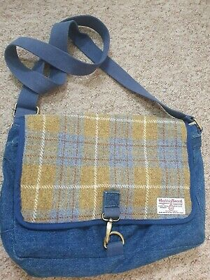 Devoted Harris tweed tartan canvas messenger cross body bag satchel blue green