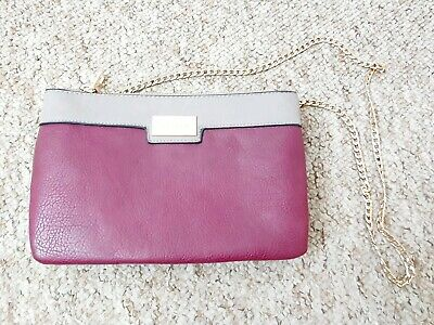 Dune Burgundy And Taupe Leather Chain Shoulder Bag Clutch Small
