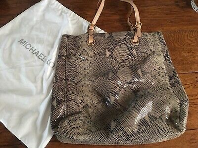 Michael Kors snakeskin leather python pattern leather tote shopper grey / brown