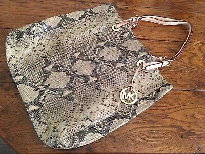 Michael Kors snakeskin leather python pattern leather tote shopper taupe / brown