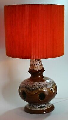 Vintage Mid Century (original 1970s) Large Pottery Table Lamp and Shade Rewired.