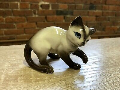 Vintage Siamese Cat with Raised Paw - Unmarked Japan Mid Century Lefton? Napco?