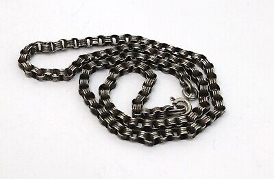 A Fine Antique Victorian Sterling Silver 925 Chain Link Necklace #17496