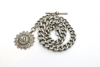 A Superb Heavy Large Antique Victorian Solid Silver 925 Graduating Albert Chain