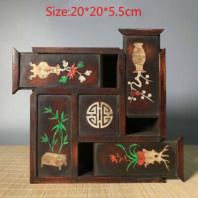 Collection antique exquisite rosewood inlaid shell multi-open old jewelry box